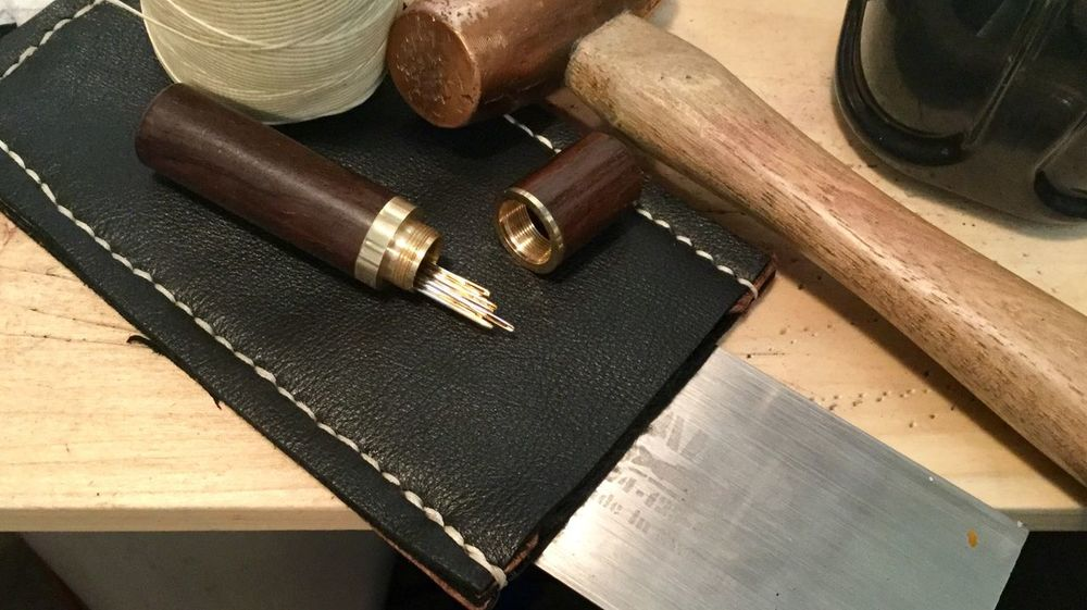 Leather craft tools. JGLowe Leather Workshop Leather Work Sewing Leather Craft Wood - Material Indoors  Table High Angle View Cutting Board No People Close-up