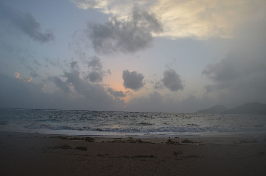 Atmosphere Beach Beauty In Nature Cloud Cloud - Sky Horizon Over Water Sand Sea Seascape Shore Sky St. Kitts Sunrise Sunrise_sunsets_aroundworld Landscapes With WhiteWall