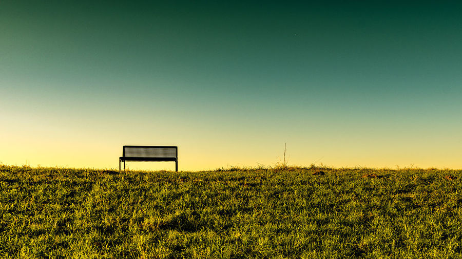 Bench Capture Tomorrow Field Plant Sky Land Beauty In Nature Landscape Tranquil Scene Nature Tranquility Sunset Environment Grass Growth Scenics - Nature No People Green Color Copy Space Clear Sky Outdoors Sport