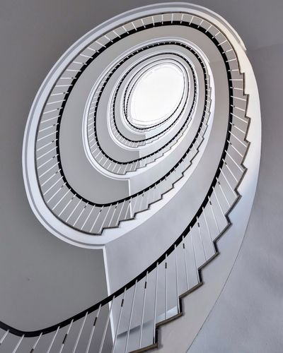 Sprial upwards Stairs Architecture Bright Bayern Bavaria Germany Looking Up München Munich Spiral Staircase Spiral Staircase Steps And Staircases Built Structure Architecture Railing Indoors  No People Directly Below