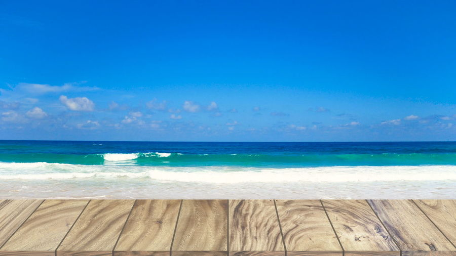 wood table texture on beach Sea Water Horizon Over Water Horizon Sky Scenics - Nature Beach Land Beauty In Nature Blue Tranquil Scene Tranquility Nature Day No People Idyllic Motion Outdoors Wave Turquoise Colored Swimming Pool