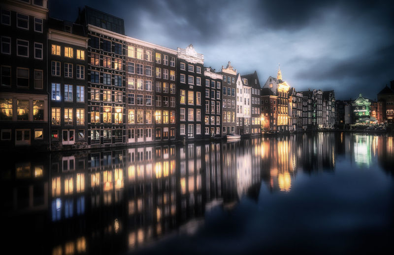 Building Exterior Architecture Built Structure Illuminated Reflection Night City Building Water Cloud - Sky Sky Waterfront Nature No People River Travel Destinations Outdoors Residential District Amsterdam Dutch Holland Remo SCarfo