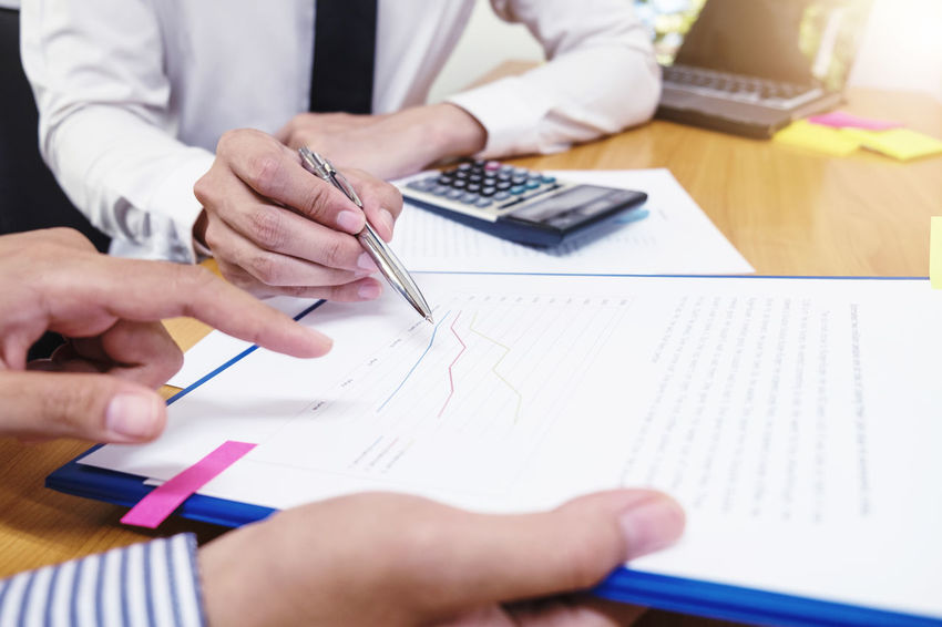Bookkeeping Budget Economy Finance; Teamwork Working Accountant Accountants Business Businessman Calcalation Calculator Checking; Closeup Cost Discussing; Document Financial Investment Managers  Office Present; Professional Report; Training;