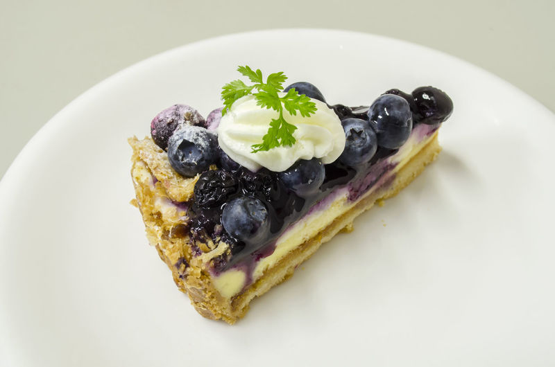 Delicious Blueberry Cheese Pie Blueberry Blueberry Cheesecake Blueberry Pie Blueberrycheesecake Close-up Dessert Food Food And Drink Food Styling Freshness Frozen Food Garnish Ice Cream Indoors  Indulgence Mint Leaf - Culinary No People Plate Ready-to-eat Studio Shot Sweet Food Temptation White Background