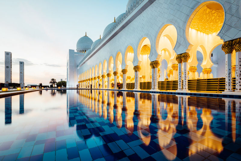 Reflection of mosque in water