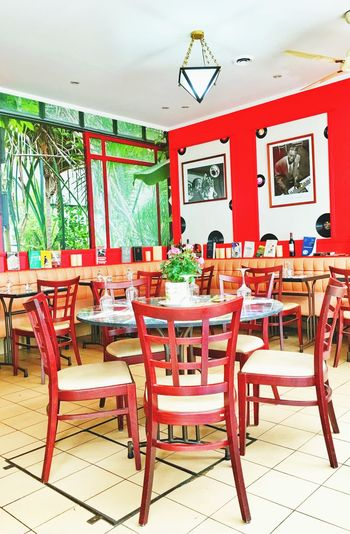 Paris, France  Restaurant Decor Eating Out Music Is Life Ambiance Colorful Red Inside Decoration