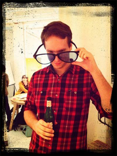 big glasses.