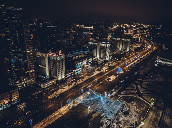Colors of December. Aerial Minsk City view Building Exterior City Architecture Built Structure Cityscape High Angle View Building Night Crowd Illuminated Crowded Transportation Street City Life Road Office Building Exterior Nature Skyscraper Modern Outdoors Financial District  Minsk Belarus Christmas Christmas Decoration