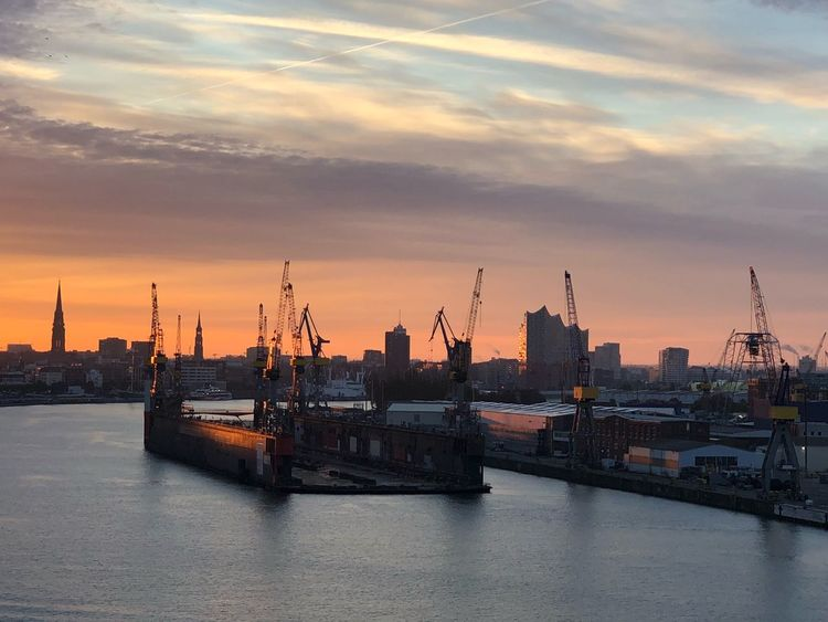 Hamburg ❤️ Sky Sunset Architecture Nautical Vessel Water Cloud - Sky Building Exterior Cityscape Tower No People Waterfront Building Harbor Mode Of Transportation Nature Sea Ship Transportation Built Structure City