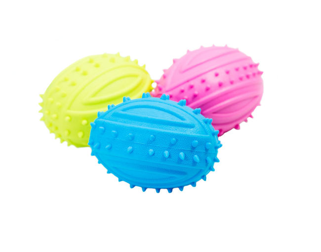 Rubber toys set for pet on isolated white background. Blue Color Dogs Funny Ball Catalog Close-up Copy Space Design Game Multi Colored No People Pet Accessories Pink Color Play Products Rubber Ball Studio Shot Training White Background