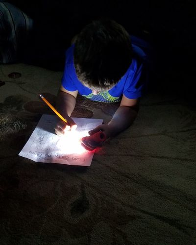 Flashlight Homework Human Hand Paper Full Length Red School Supplies Pencil Eraser Sketch Pad