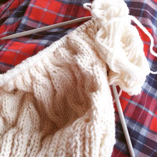 Knitting in pyjamas Wool Knitting Needle Knitted  Ball Of Wool Close-up Pyjamas Dressing Gown Hygge