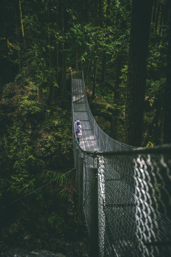 Person on rope bridge at forest