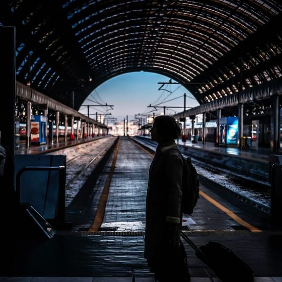 Milan,Italy 35mm F2 X-PRO2 Fujifilm Transportation Railroad Track Railroad Station Platform Rail Transportation Railroad Station Public Transportation Passenger Mode Of Transport Real People Waiting Travel One Person Station Built Structure