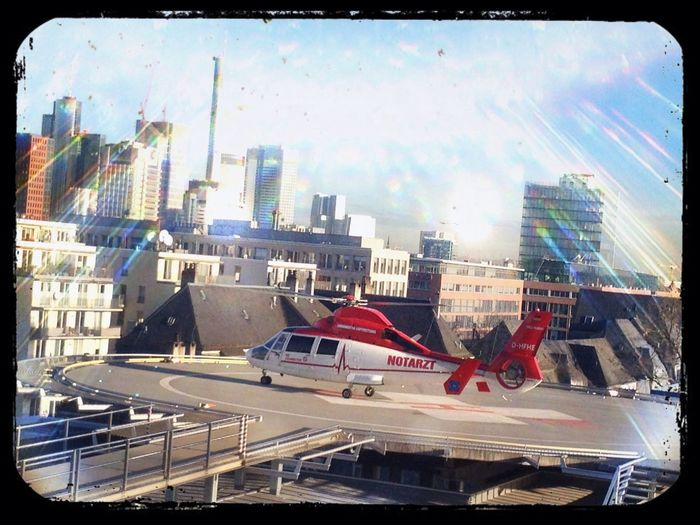 Helicopter on the top of our Hospital in Frankfurt