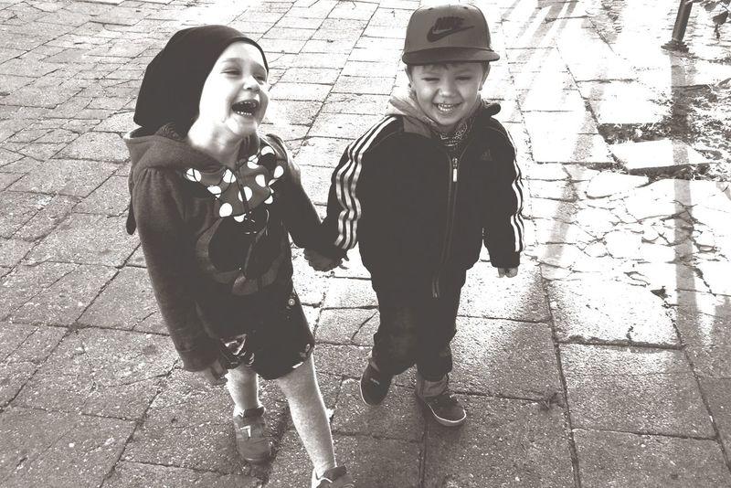 Joy Kids Radość Cousins  Walk Happiness Having Fun Autumnwalks