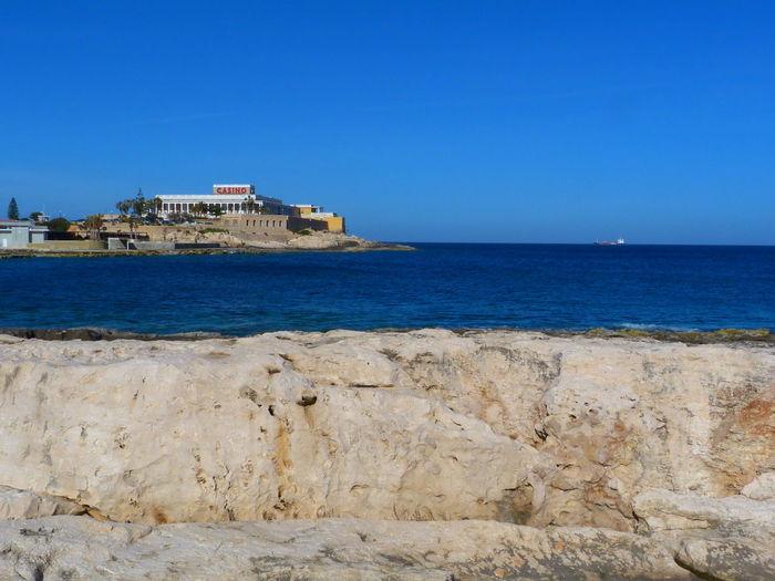 Malta Paceville Stonebeach Stone Beach Mediterranean  Mediterranean Sea San Giljan St. Julian's Sea Water Sky Rock Land Beach Nature No People Clear Sky