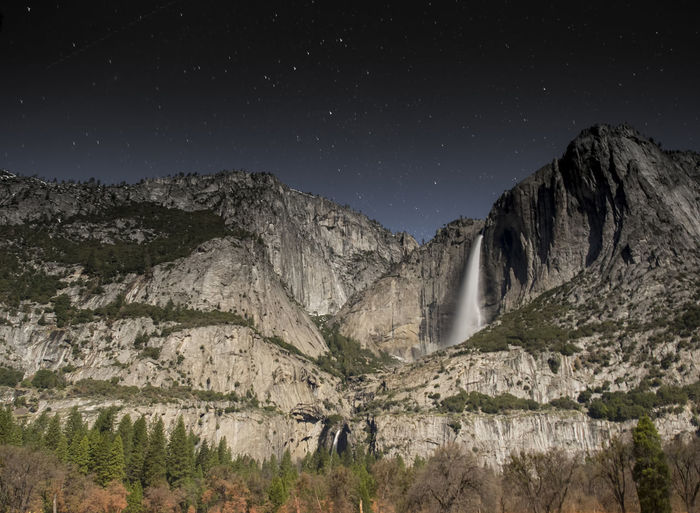Beauty In Nature Landscape Meadow Moonlight Moonlit Nature Night Night Scene Night Sky Night Skyline No People Outdoors Scenics Star Tranquility Yosemite Yosemite National Park waterfall Yosemite Fall Mountains After Dark long exposure Stars And Sky stars Starscape No People