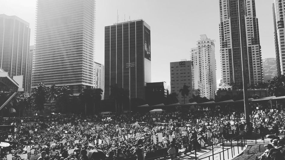 Miami's Women's March 2017 City Large Group Of People Building Exterior Crowd Architecture Skyscraper Built Structure Outdoors Day People Nature Adults Only Sky Adult