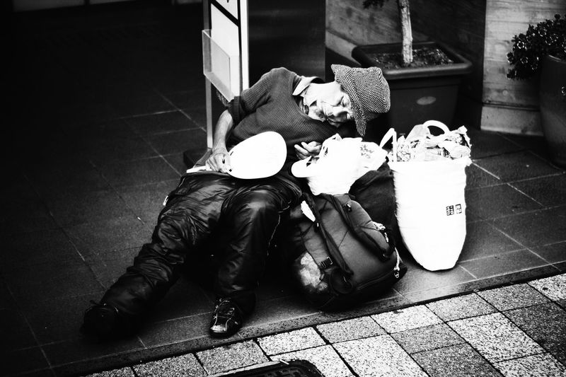 Blackandwhite Clochard Close-up Day Flooring Homeless Japan Still Life Streetphotography Tile Tokyo Night Night, Sleep Tight