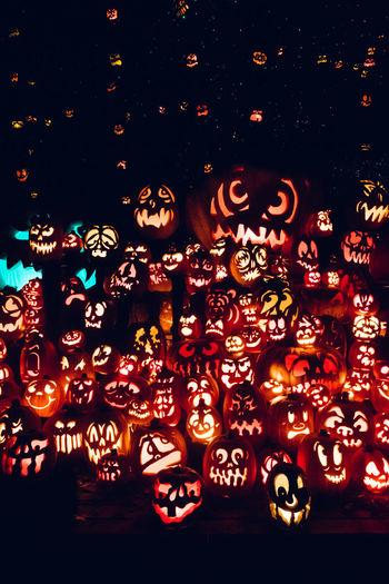 Close-up of illuminated lanterns
