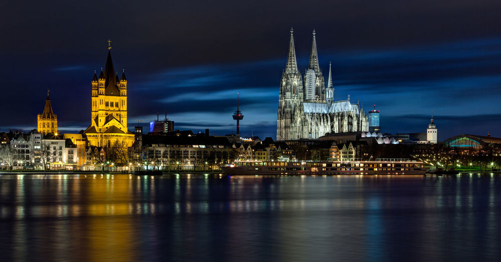 Cologne Cathedral. Cathedral Cologne Cologne Cathedral, Germany Architecture Belief Building Building Exterior Built Structure City Cityscape Cologne Cathedral Dome Government Illuminated Night No People Outdoors Place Of Worship Reflection Religion River Sky Spire  Tourism Tower Travel Travel Destinations Water
