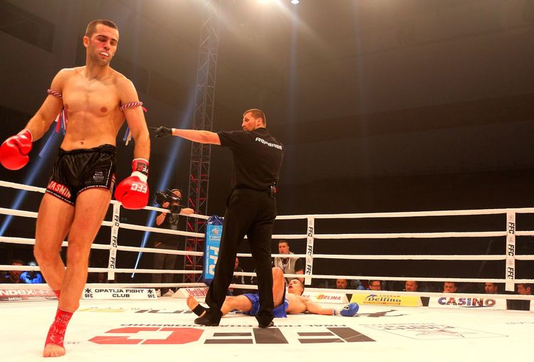 FFC Futures Fight, Croatia Knockout Roses Boxing Ring Competition Competitive Sport Exercising Final Fight Championship Illuminated Jasmin Bajrović Kickboxing Knockout Knockouts Men Muscular Build Real People Ring Shirtless Strength Walkaway Young Men Zagreb Muay Thai
