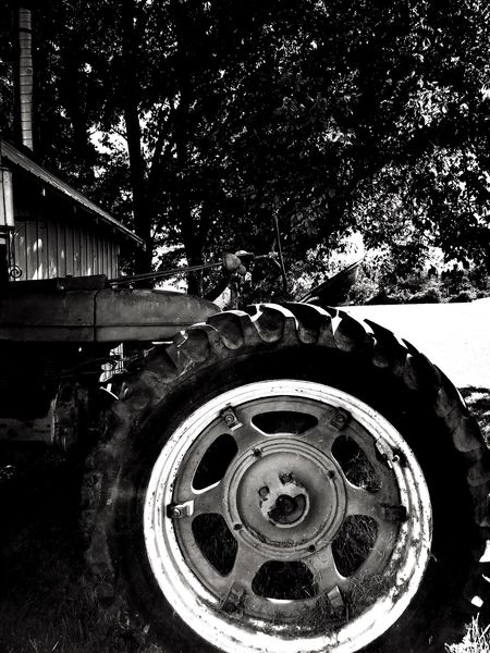 IPhoneography Monochrome Blackandwhite Tractor Transportation Circle Geometric Shape Metal Close-up Wheel