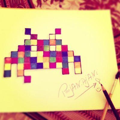 Deadmau5 Fanartwork Colorfull Pixelerated square Doodle ....:) @followback_edm