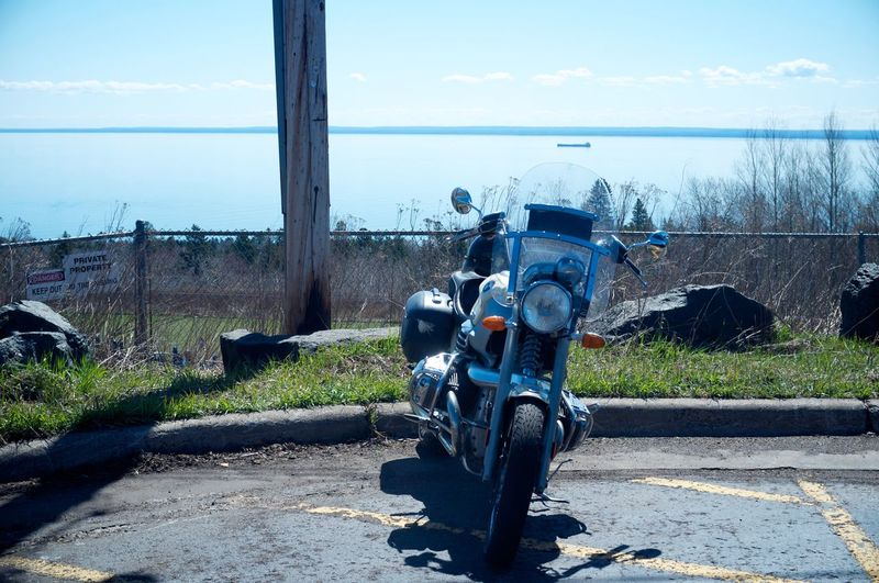 May 2, 2016 Blue Cloud Cloud - Sky Coastline Day Duluth Grass Horizon Over Water Idyllic Lake Superior Minnesota Mode Of Transport Motorcycle Nature Ocean Outdoors Parked Parking Scenics Shore Sky Tranquil Scene Tranquility Travel Destinations Water