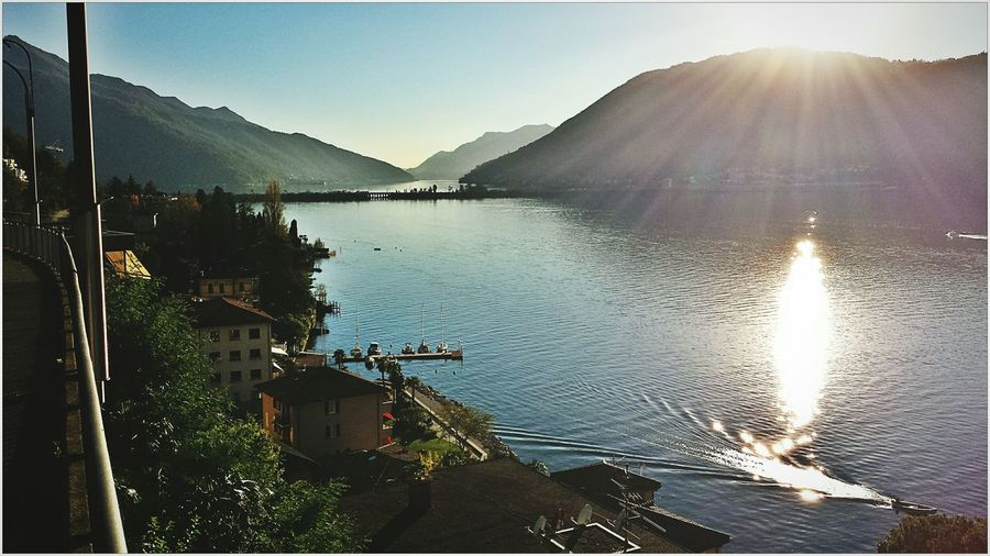 Lugano Luganer See Luganersee See Water Sunny Day Sea View Beautiful Panorama Sundown Abendstimmung Abendsonne
