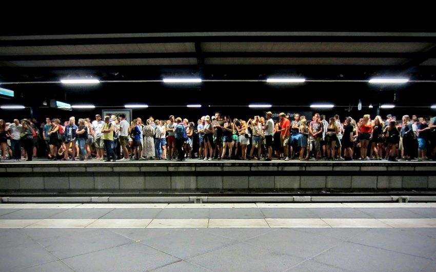 Railway station after Lollapalooza 🚈People And Places People Railway Crowd Festival Music Colorful Treptower Park Berlin Lollapalooza Enjoying Life Battle Of The Cities Large Group Of People Taking Photos Shootermag EyeEm Best Shots