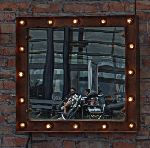 Mirror Motorcycle Motorcycle Photography Architecture Illuminated Motorcyle Outdoors People Mix Yourself A Good Time Capture The Moment