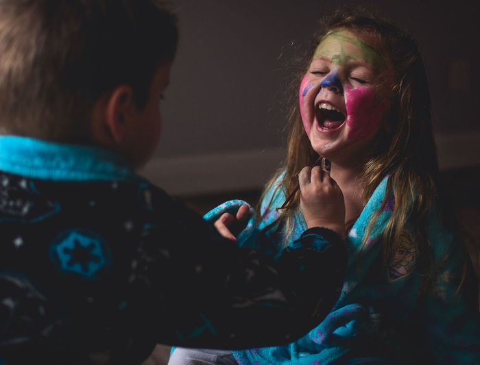 Cabin Fever Creativity Facepaint Indoors  Laughter Play Siblings Two People