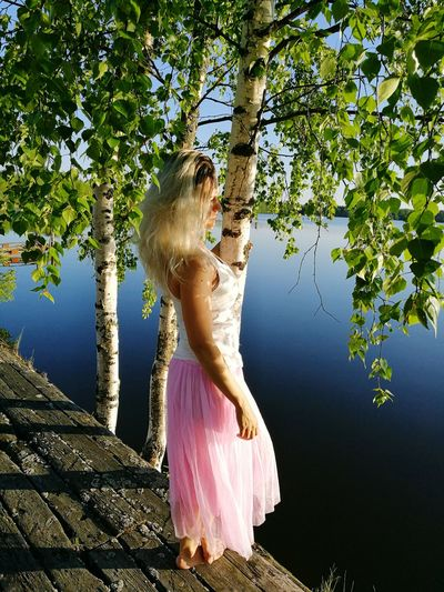 Beauty One Woman Only Young Women Blond Hair Summer Beautiful People Beautiful Woman Long Hair One Person Fashion Finland Sky Beach Water Lake Tree