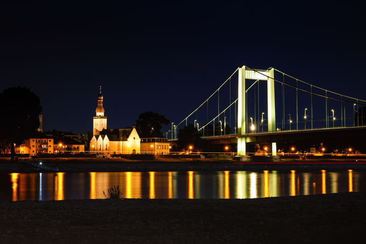 Cologne Hängebrücke Köln Nachtaufnahme Nachtfotografie Rhein Rheinufer Architecture Built Structure City Cologne At Night Langzeitbelichtung Long Exposure Mülheimer Brücke Night Outdoors River Transportation Travel Destinations Wasserspiegelung Water