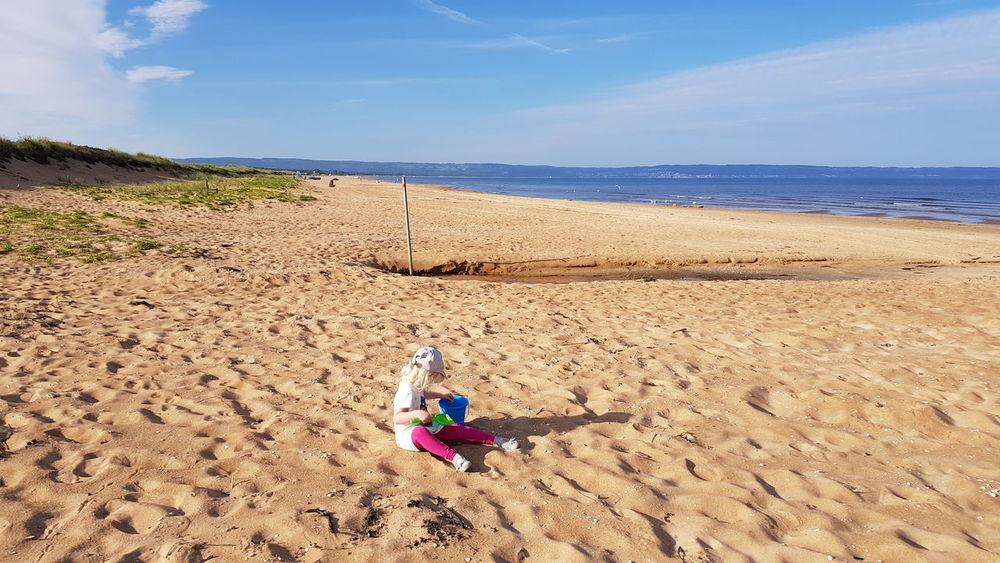 Sand Beach Sea FootPrint Sand Dune Summer Nature Sunny Outdoors Vacations Landscape Day Sky Dog Sand Pail And Shovel Full Length Horizon Over Water Water Beauty In Nature People Nature Photography Tourism Sea Life Hello World Check This Out