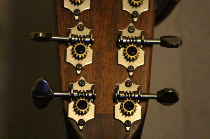 Close-up Day Guitar Indoors  Metal No People String Instrument Tuning Pegs