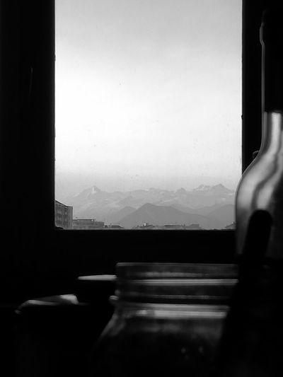 Windows Winter Snow Landscape Mountain Mountain Range Mountains Balck And White Alpine Alpine Landscape Indoors  Window Day