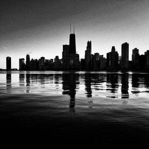 Chicago Skyline Cityscape Urban Skyline Blackandwhite Architecture Reflection Waterfront