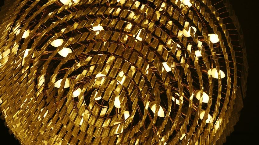 Backgrounds Pattern No People Full Frame Close-up Abstract Indoors  Concentric Night Gold Color Light