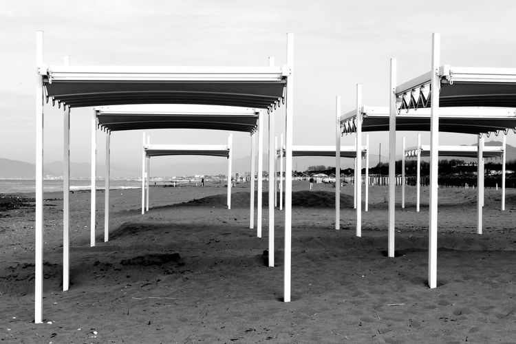 Beach tents, near Massa, Italy Beach Beach Life Beach Photography Beach Tent Beachphotography Black And White Blackandwhite Italy Landscape Sand Sea Tent