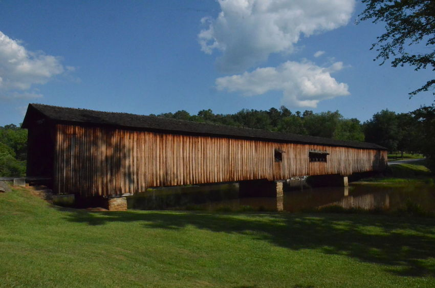 Architecture Bridge Bridge - Man Made Structure Building Exterior Built Structure Covered Bridge Day Grass Lake Nature No People Outdoors Sky Water
