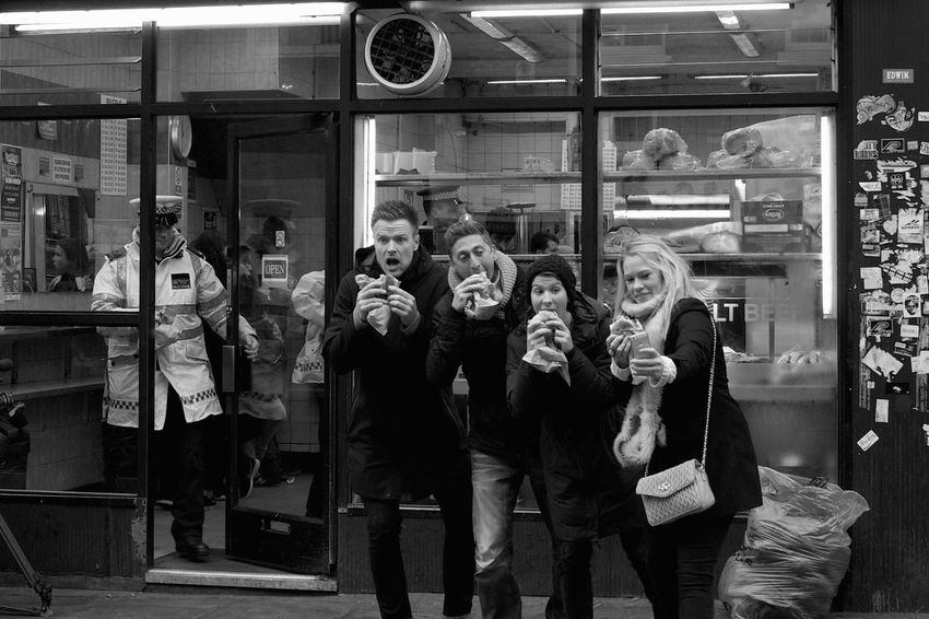 London Lifestyle Selfies w/police officer at Beigel Bake Brick Lane Style Bagels Street Photography