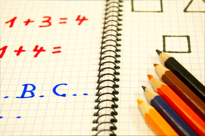 Paper Pencil Still Life Indoors  Note Pad Close-up No People High Angle View Education Day Notebook Pencils