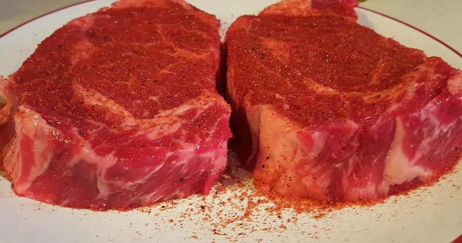 Steaks Beef Ribeye Steak Meat Red Raw Pre-cooked Marbled Seasoned Prepare Food Porn Food Photography Hungry Gluttony Hungry Eating Food Plated Yum Chef Showcase: February Pastel Power Two Is Better Than One