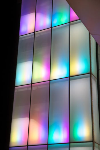 Iridescent architecture - bangkok Multi Colored Indoors  Shape No People Geometric Shape Illuminated Wall - Building Feature Screen Glass - Material Stained Glass Technology Arts Culture And Entertainment Reflection Architecture Backgrounds Close-up Pattern Television Set Full Frame Device Screen Light Glass Nightlife Purple Ceiling