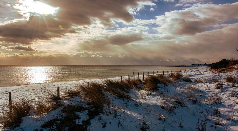 Water Sky Beauty In Nature Scenics - Nature Cloud - Sky Tranquility Tranquil Scene Nature No People Sunlight Sea Reflection Winter Non-urban Scene Plant Land Cold Temperature Beach Sun Outdoors Bright