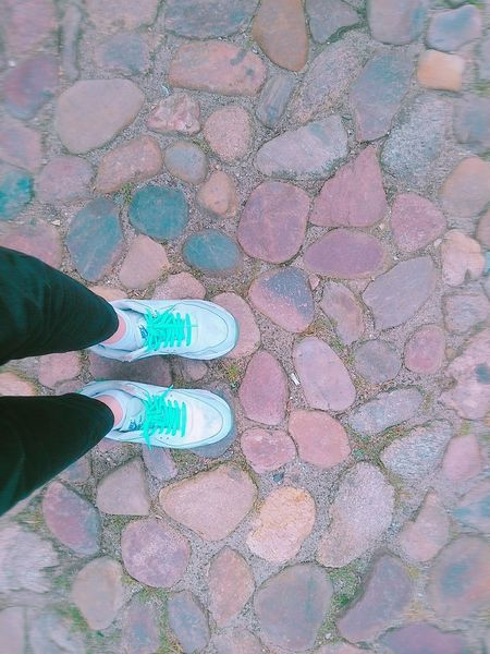 Black Pants Light Green Shoes My Foot On The Street Lüneburg Germany Hello World Brown Stones Smartphonephotography Short Trip With A Broken Camera