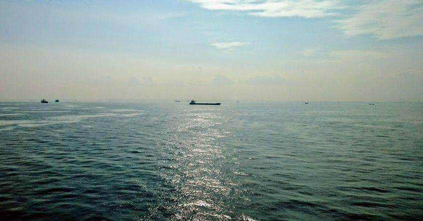 Sea Sky Sky And Clouds Cloud - Sky キラキラ 海 船 Silhouette